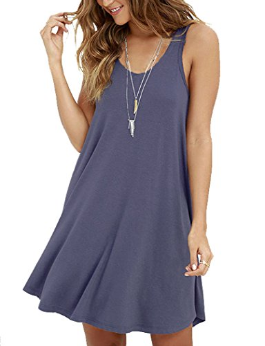 MOLERANI Women's Casual Swing Simple T-shirt Loose Dress, Medium,  Purple Grey -