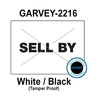 "180,000 GENUINE GARVEY 2216 ""SELL BY"" White/Black General Purpose Labels: full case - 20 ink rollers - tamper proof security -"