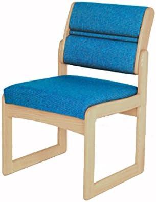 Wooden Mallet DW2-1 Valley Armless Guest Chair, Light Oak Leaf Blue