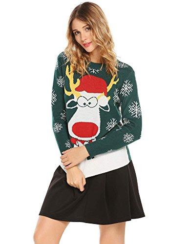 Femme Pull Tricot Reindeer Acevog Slim No Vert en Chandail l Casual Rond Sweater Col d5wSBSq
