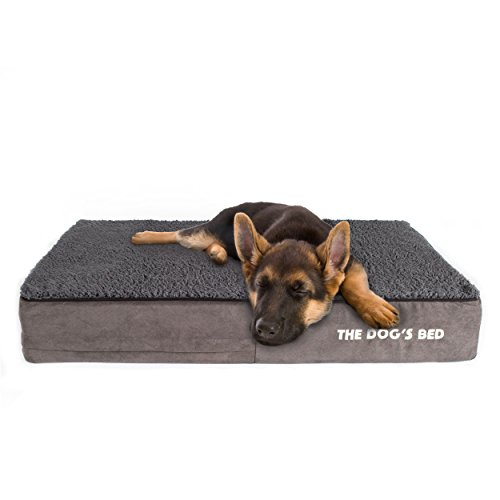 (The Dog's Bed Orthopedic Dog Bed Large Grey Plush 40x25, Premium Memory Foam, Pain Relief for Arthritis, Hip & Elbow Dysplasia, Post Surgery, Lameness, Supportive, Calming, Waterproof Washable Cover)