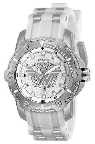 Women's DC Comics Stainless Steel Quartz Watch with Silicone Strap, White, 22 (Model - Invicta 26836