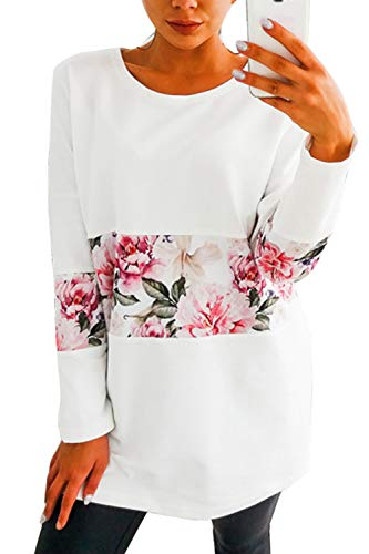 Manches Tops Floral Chemises Blanc Sweat Longues Femmes Pull Imprim Casual Cq4TTt