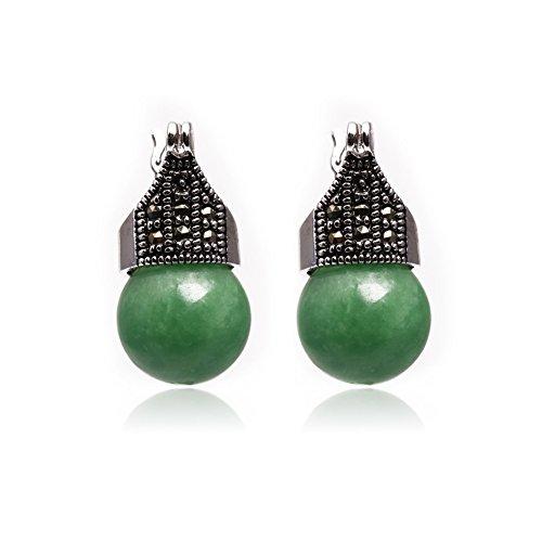 Jade Gems Round Bead - GEM-inside Earrings Taiwan Jade Round Ball Gemstone Beads Cute 12mm Tibetan Silver Marcasite Leverback Jewelry Accessory for Woman