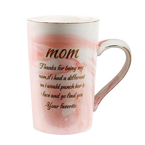 Momugs Thanks For Being My Mom Funny Coffee Mug - Unique Gift for Mom Women - Elegant Pink 14oz Coffee Mug Gift for Mother Day Birthday Christmas from Daughter, Son - Novelty Ceramic Marble Design