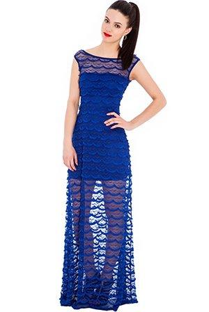 Noche corsé Cóctel vestido maxi vestido con punta transparente – fiesta eventos boda – Royal de