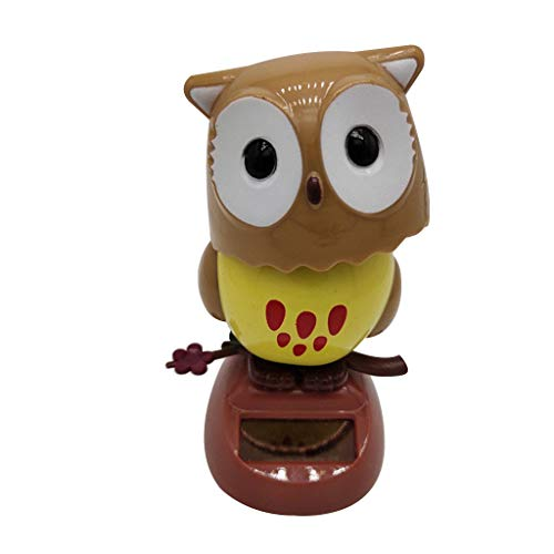 Solar Dashboard Ornament - Cute Owl Animated Decoration Toy - Light Powered Dancing Swinging Toys for Car Windowsill Office Desk Home Decor Balcony Courtyard