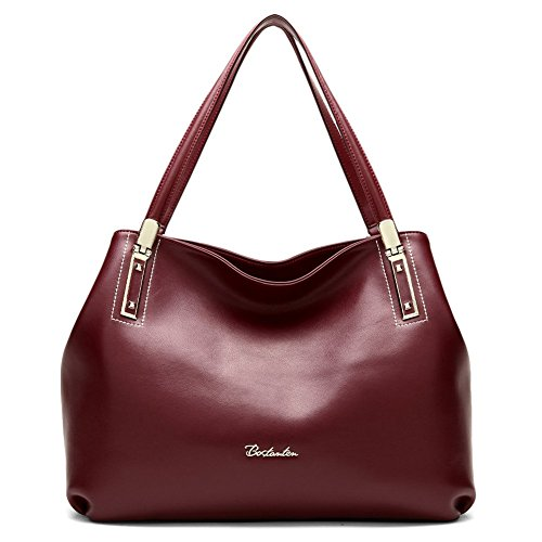clearance designer handbags p5ys  BOSTANTEN Women's Cow Leather Designer Handbags Purses Tote Shoulder Bags  Wine Red