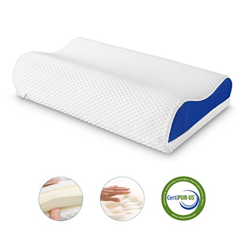 LANGRIA Orthopedic Memory Foam Contour Bed Pillow with Adjustable Custom Height Detachable Foam Layer Removable Washable Breathable Mesh Knit Cover Standard Size (1 Removable Loft Layer, (Curved Foam)