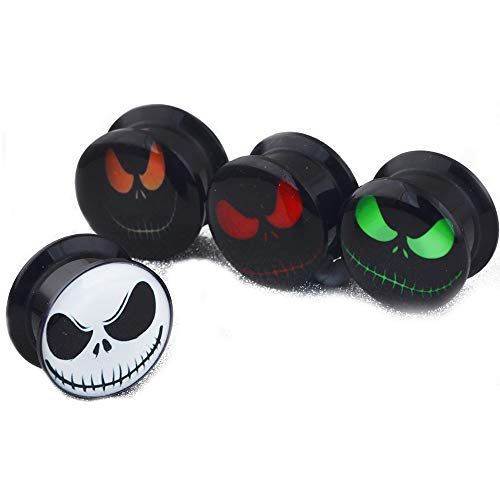 (4 Pairs Skull Acrylic Ear Gauges Earring Plugs Logo Internally Threaded Screw fit Flesh Tunnels)
