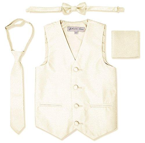 JL34 Boys Formal Tuxedo Vest Set (4/5, Ivory)