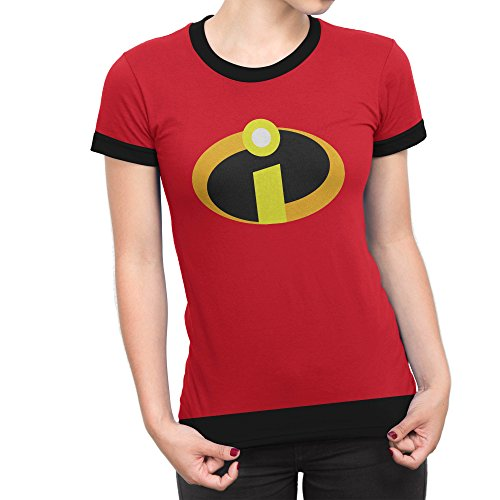 The Incredibles 2 Symbol Logo Costume T-Shirt - Adult Short Sleeves Red T Shirt for Women (XXL) ()