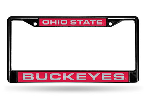 Rico Industries NCAA Ohio State Buckeyes Laser Cut Inlaid Standard Chrome License Plate Frame, Black