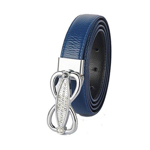 Wholesale Designer Belts (Blue Womens Geniune Leather Belt High Quality Luxury Crystal Diamond Designer)
