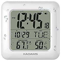 KADAMS Digital Bathroom Shower Wall Clock, Waterproof for Water Spray, Temperature & Humidity, Moisture Proof, Large Display Calendar Month Date Day, Suction Cup Stand Hanging Hole Rope Clock [White]