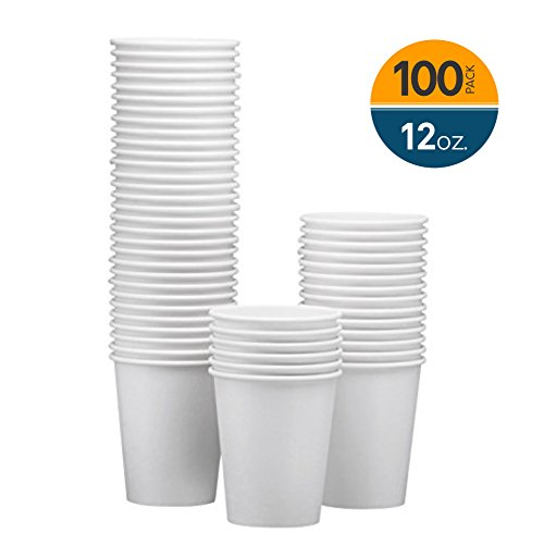 NYHI 100-Pack 12 oz White Paper Disposable Cups - Hot/Cold Beverage Drinking Cup for Water, Juice, Coffee or Tea - Ideal for Water Coolers, Party, or Coffee On the Go'