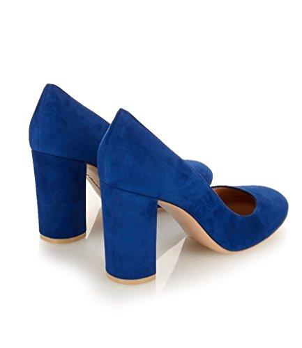 EDEFS 10cm Damen Blockabsatz Pumps Runde Zehe High Heels Geschlossen Damenschuhe Nuckblau