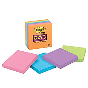 Post-it Super Sticky Notes, 3 in x 3 in, Rio de Janeiro Collection, 6 Pads/Pack (654-6SSAU)