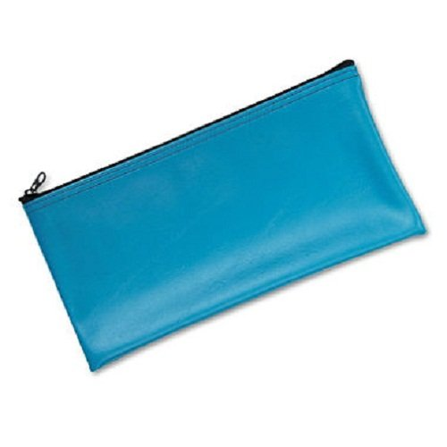 MMF Leatherette Zippered Wallet, Leather-Like Vinyl, 11w x 6h, Marine Blue, 2 Packs - Leatherette Zippered Wallet Leather