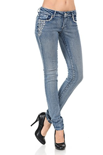 VIRGIN ONLY Women's Light blue skinny jeans with crystals on pockets-25-Denim