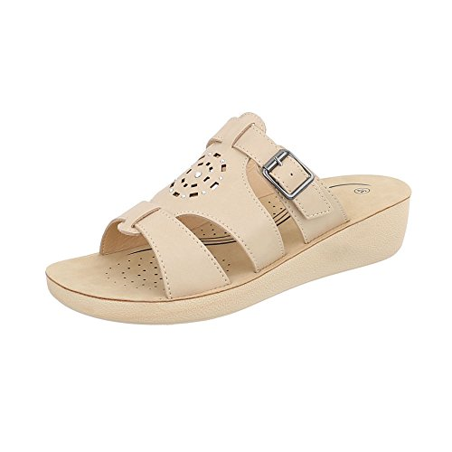 at Heel Women's Ital Sandals Mules Design Beige Wedge TqxTOfwYPg