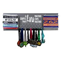 RunningontheWall Hearts Day Medal Rack and Bib Hanger Valentines Gift for Couple Runners-A Couple That Runs Together, Stays Together Double Race Bibs Medal Holder Design