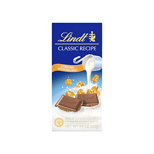 Lindt Classic Recipe Milk Chocolate Bar, Caramel with Sea Salt, 4.4 Ounce (Pack of 12), Packaging May Vary