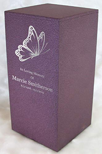 Personalized Engraved Butterfly Cremation Urn for Human Ashes - Made in America - Handcrafted in The USA by Amaranthine Urns, Adult Funeral Urn - Eaton DL (up to 200 lbs Living Weight) (Rose Wine) (Urns Square Cremation)