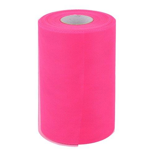 uxcell Polyester Family Wedding Dress Tutu Gift Decor DIY Craft Tulle Spool Roll 6 Inch x 100 Yards Dark Pink (Bow Craft Tulle Wedding)