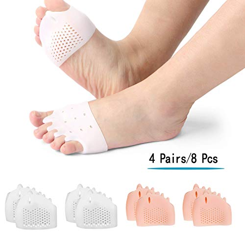 (8PCS) Ball of Foot Cushions, Metatarsal Pads/Cushion, Bunion Corrector,Gel Toe Separator, Forefoot Cushions Best for Metatarsal Pain and Diabetic Feet,Bunion/Forefoot Pain Relief, for Men and Women