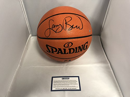 Larry Bird Boston Celtics Autographed Signed Basketball Black Ink Steiner Sports Certified W/Photo From Signing