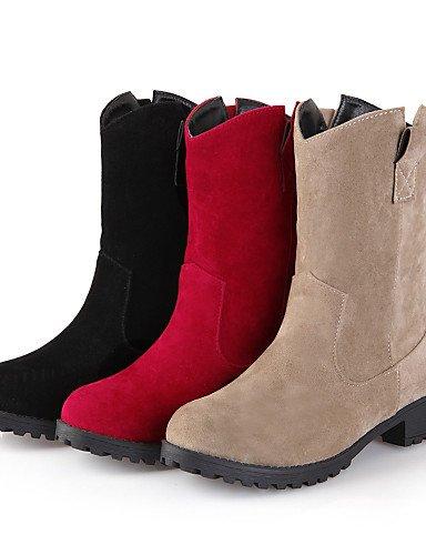 Negro Vestido Mujer Eu42 Rojo Botas Casual Vellón Zapatos Bajo De Punta Beige 5 5 us10 Uk8 Red Black Cowboy 5 Xzz Cn43 Redonda us10 Tacón O7pxUOz