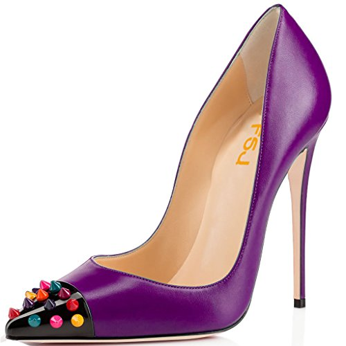 Fsj Mujeres Con Estilo Tacones Altos Tachonado Pointy Toe Pumps Formal Zapatos For Office Ladies Tamaño 4-15 Us Purple