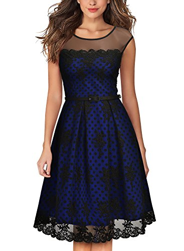 MissMay Women's Vintage Embroidered Lined Polka Dots Cocktail Swing Dress (Small, Navy Blue)