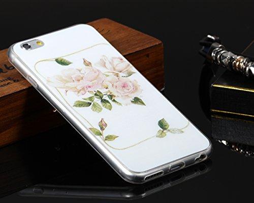 "JewelryWe Elegante Pink Kamelien TPU Silikon Handy Case Schutzhülle Tasche Hülle Rückenschutzhülle Etui für Apple iPhone 6(4,7""), Weiss Transparent"