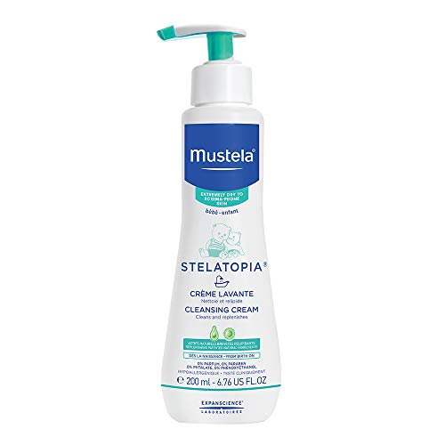 Mustela Stelatopia Cleansing Cream, Baby Body Wash for Extremely Dry to Eczema-Prone Skin, Fragrance-Free, 6.76 Fl. Oz. (Treatment Baby Acne)