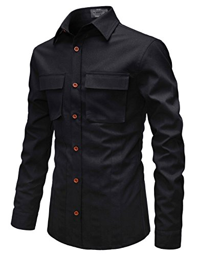 NEARKIN (NKNKS674 Men Explorer Style Stripe Pattern 2 Chest Pocket Long Sleeve Shirts Black US L(Tag Size L) ()