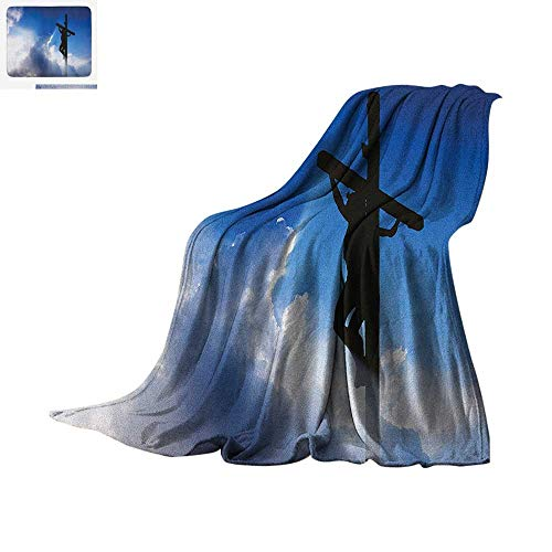 - Religious Throw Blanket Black Silhouette on The Cross Majestic Clouds with Beaming Sun Ethereal Warm Microfiber All Season Blanket for Bed or Couch 60