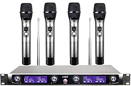 Maxcart Professional 4 Channel UHF Series Wireless/Cordless Microphone with 4 Metal Handhelds Fixed Frequency Mic Set Audio for Family Party Church Ka