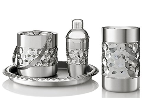 - Francois et Mimi Stainless Steel Bar Tools Set, Including Ice Bucket, Wine Chiller, Cocktail Shaker and Serving Tray
