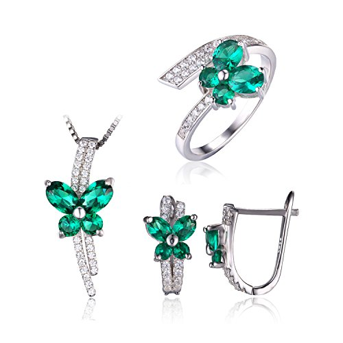 JewelryPalace Women's Butterfly 3.3ct Created Nano Russian Emerald Jewelry Sets Ring Pendant Necklace Clip On Earrings Solid 925 Sterling Silver Size 7 (Russian Emerald)