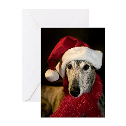 CafePress - Santa Greyhound - Greeting Card (20-pack), Note Card with Blank Inside, Birthday Card Matte ()
