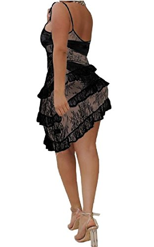 Women Sleeveless Black Spaghetti Coolred Dresses Flouncing Strap Club Sexy Evening Perspective dq7w8AfqB