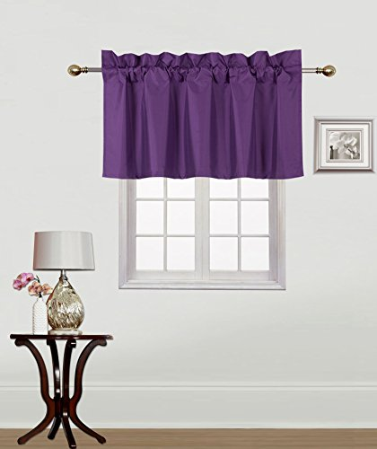 Midwest Window Treatment Collection 1PC Solid Foam Lined Blackout Panel Half Window Curtain OR Valance Room Darkening in Many Colors and Sizes (PURPLE, (RS9)VALANCE)