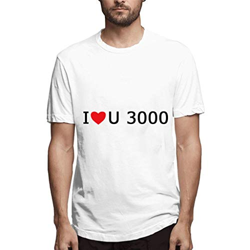 (Men's Fashion Casual Love You Three Thousand Times Letter Printing Simple Casual Comfortable T-Shirt White)