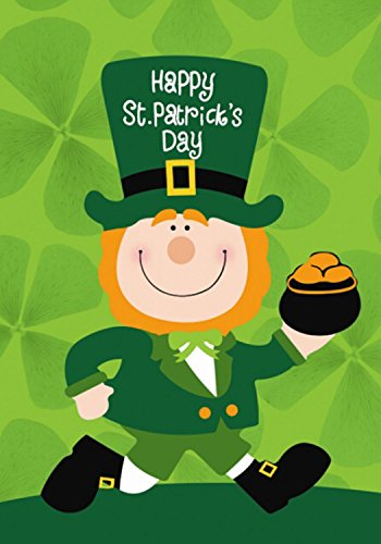 Patricks Day Flags St (St. Patrick's Day Leprechaun Garden Flag Pot of Gold 12.5