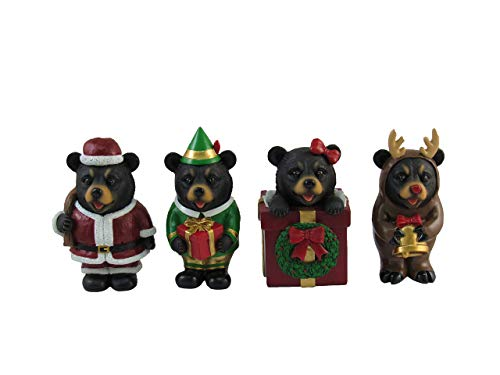 DWK - A Beary Merry Christmas - Set of Four (4) Adorable Collectible Miniature Holiday Bear Figurines Santa Elf Present and Cute Reindeer Festive Home Decor Mini Party Favors, 4-inch from DWK