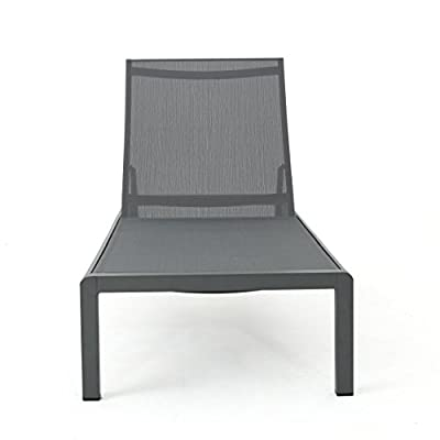 Crested Bay Patio Furniture | Outdoor Grey Aluminum Chaise Lounge with Dark Grey Mesh Seat (Set of 2)