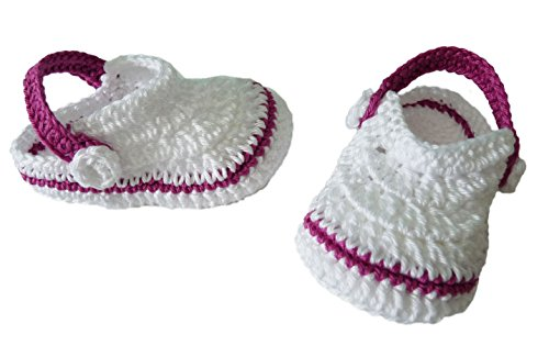 Söckchen Baby Crocs handgefertigt 100% Baumwolle 9-12 meses Morado-amarillo Weiß-Fuchsienfarben
