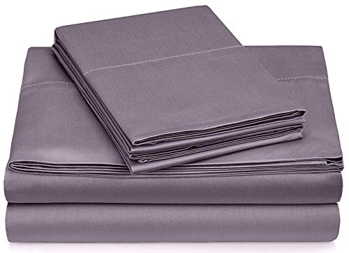 Queen 600 Thread - Queen Size Sheets 4 Piece Set Hotel Luxury Bed Sheets 100% Cotton Extra Soft Deep Pockets 600-Thread Count Easy Fit Breathable & Cooling Sheets Wrinkle Free Dark Lavender Free Hand Towel